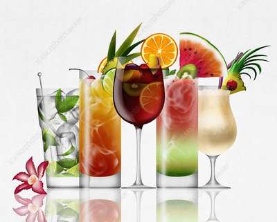 Row of different tropical cocktails, illustration