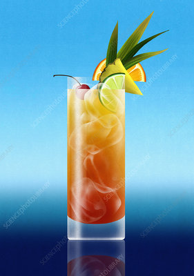 Tropical rum punch cocktail drink, illustration