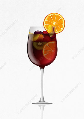 Glass of sangria cocktail with fruit, illustration