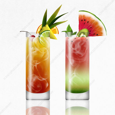 Tropical cocktails side by side, illustration