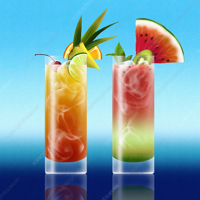 Tropical cocktail drinks side by side, illustration