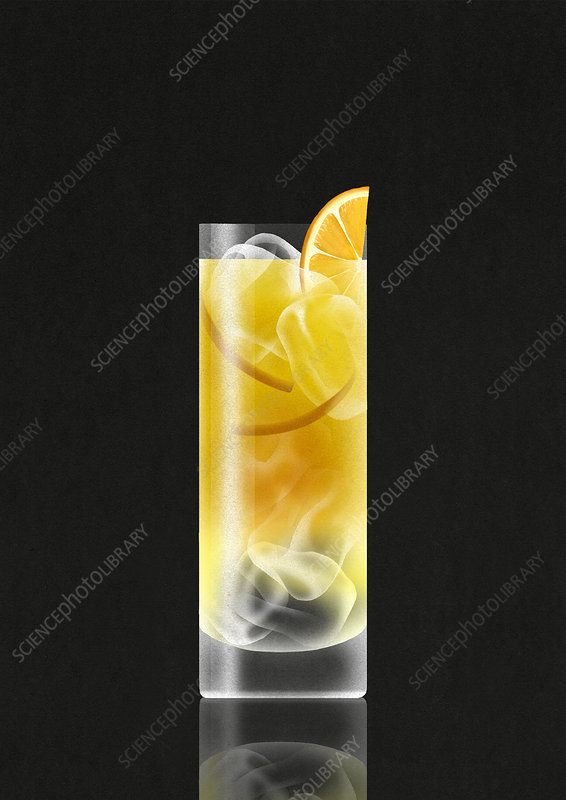 Vodka and orange juice drink with ice cubes, illustration