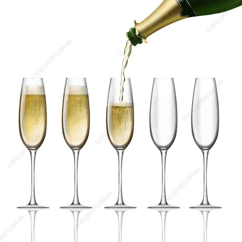 Champagne bottle pouring into flutes, illustration