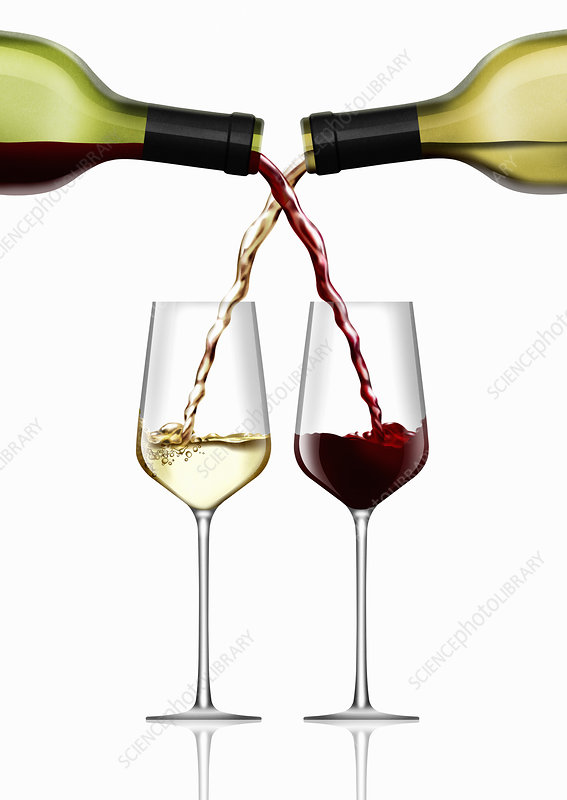 Intertwined wine and white wine pouring, illustration