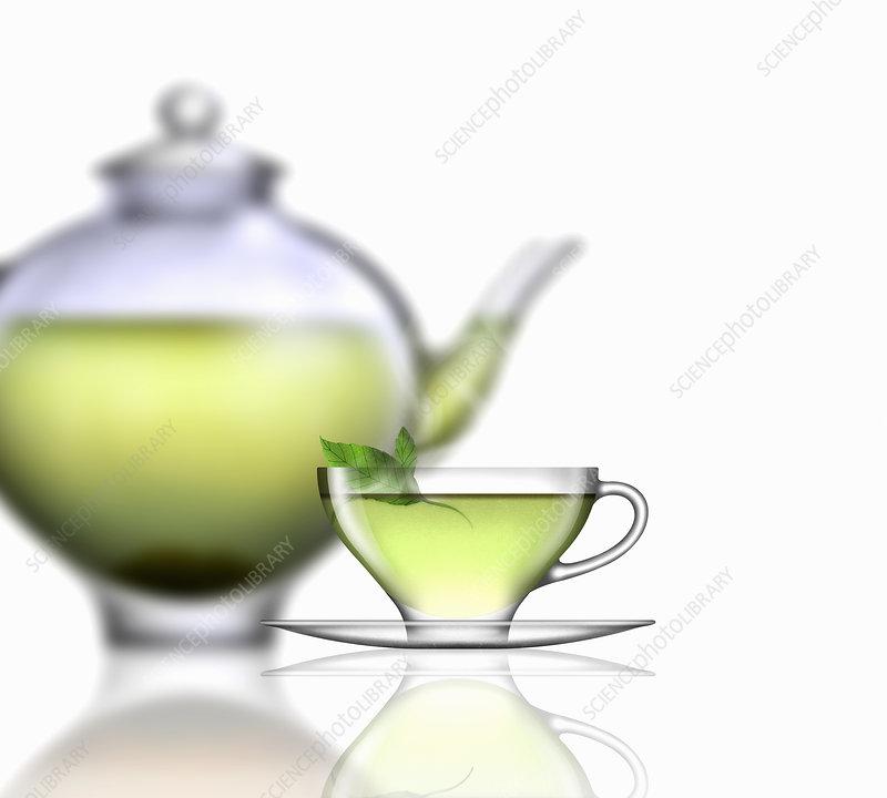 Mint tea, illustration