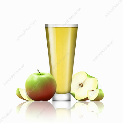Fresh apples and glass of apple juice, illustration