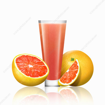 Fresh grapefruit and glass of grapefruit juice, illustration