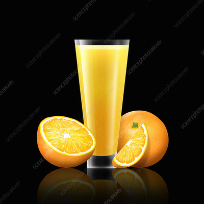 Fresh oranges and glass of juice, illustration