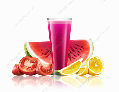 Glass of watermelon, tomato and lemon smoothie, illustration