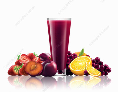Glass of strawberry, plum, grape smoothie, illustration