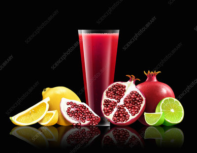Glass of pomegranate, lemon and lime smoothie, illustration
