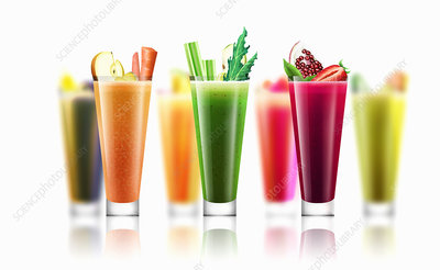 Rows of different fresh smoothies, illustration