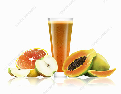 Glass of orange, apple and papaya smoothie, illustration