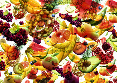 Lots of different fresh fruit falling, illustration