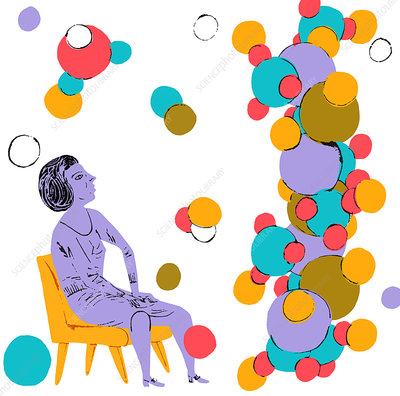 Scientist looking up at molecular structure, illustration