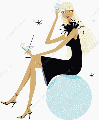 Glamorous woman drinking cocktail, illustration