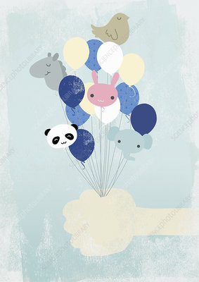 Hand holding animal-shaped helium balloons, illustration