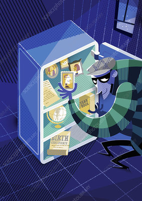 Thief stealing personal belongings from safe, illustration