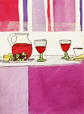 Wine, cheese and fruit on table, illustration
