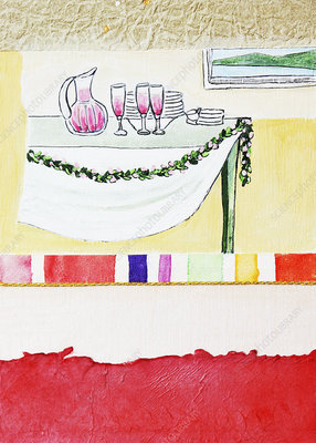 Wine and dishes on table with garland, illustration