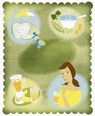 Woman and healthy food and drink, illustration