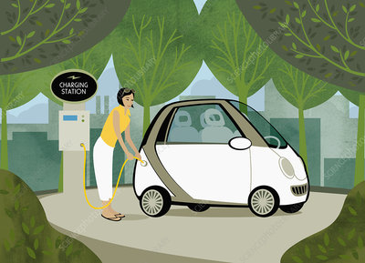 Woman recharging her electric car among trees, illustration
