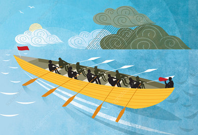 Team rowing boat from rain clouds to sunshine, illustration