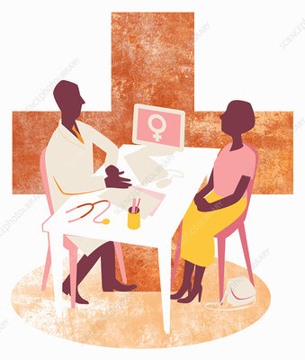 Doctor and female patient meeting, illustration