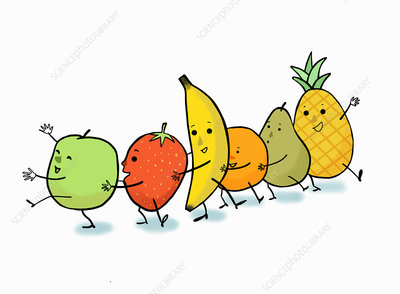 Happy fruit dancing the conga, illustration