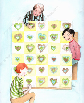 Family quilting blanket with hearts, illustration