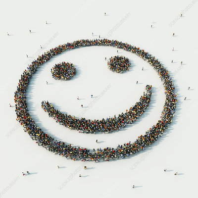 People arranged in smiley face, illustration
