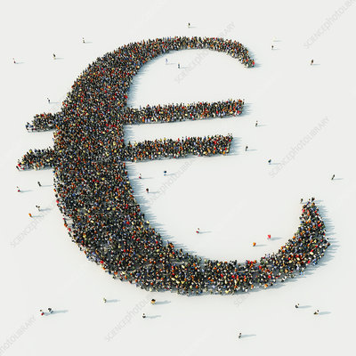 People arranged in Euro symbol, illustration