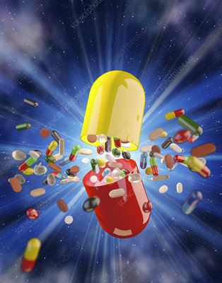 Pills exploding from large capsule, illustration