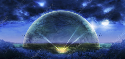Transparent bubble over countryside, illustration