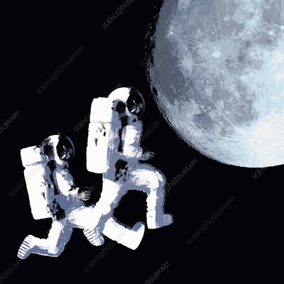 Astronauts space walking toward moon, illustration