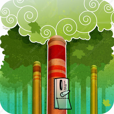 Smoke stacks spewing pollution, illustration
