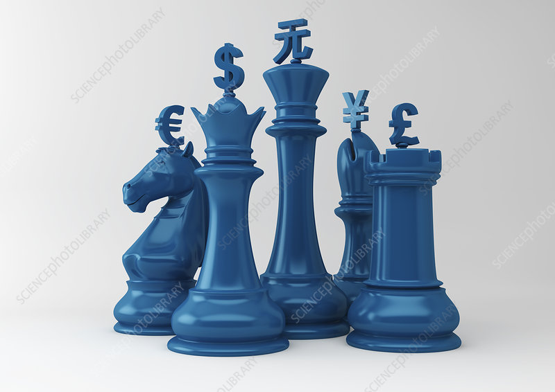 Currency symbols on chess pieces, illustration - Stock Image