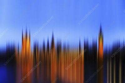 Blurred view of cityscape at night, illustration