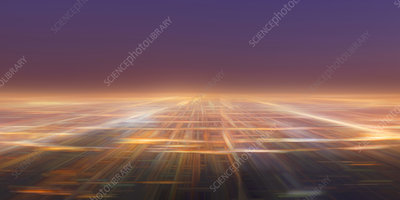 Abstract cityscape of glowing lights, illustration