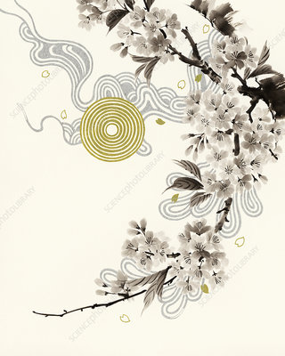 Blossom branch with circle pattern, illustration