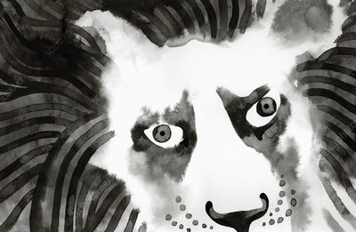 Close up of lion's face, illustration