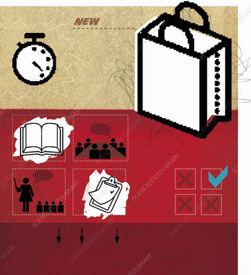 Shopping bag, books and check lists, illustration