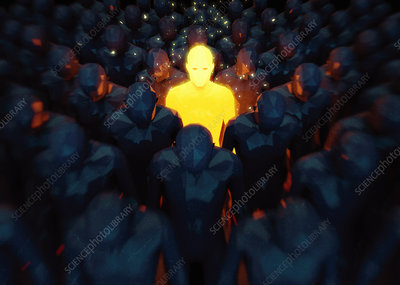 Bright glowing man standing out from the crowd, illustration