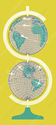 Globes stacked to form dollar symbol, illustration