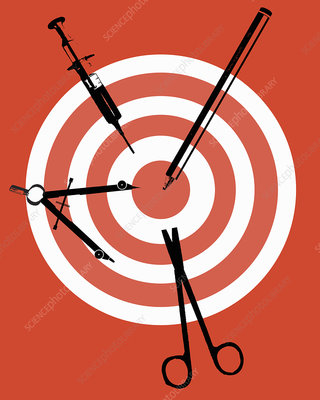Syringe, scissors and protractor on target, illustration
