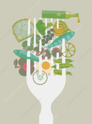 Healthy foods speared on large fork, illustration