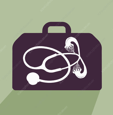 Stethoscope with fallopian tubes in briefcase, illustration