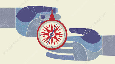 Hands exchanging compass, illustration