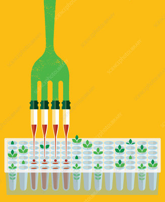 Fork with pipette prongs dripping chemical, illustration