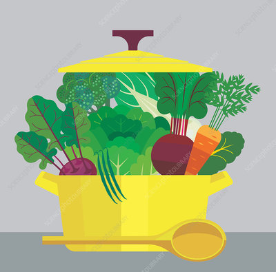Casserole dish full of vegetables, illustration